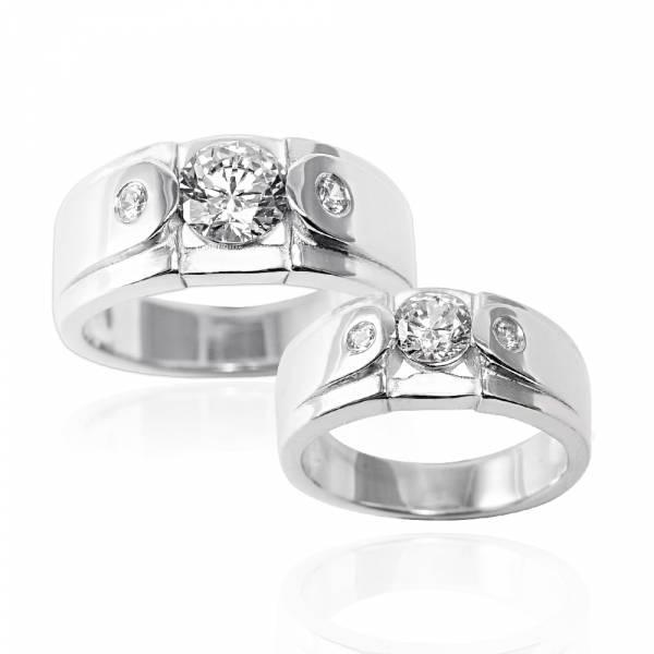 對戒-「永固愛情(寬+細)」鑲鑽設計純銀情人戒指|求婚戒指推薦(一對價) 結婚對戒