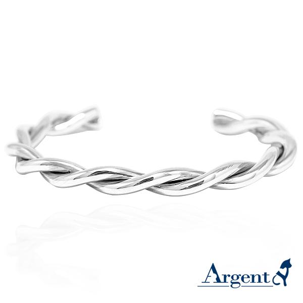 麻花造型銀手鐲純銀手環|925銀飾 純銀手環