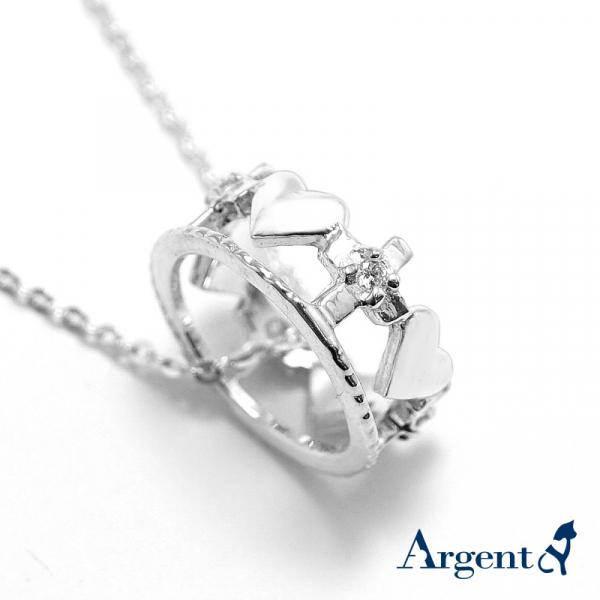 限定項鍊-皇冠愛心(純銀/白k金)-造型鑲鑽純銀項鍊銀飾|銀項鍊推薦