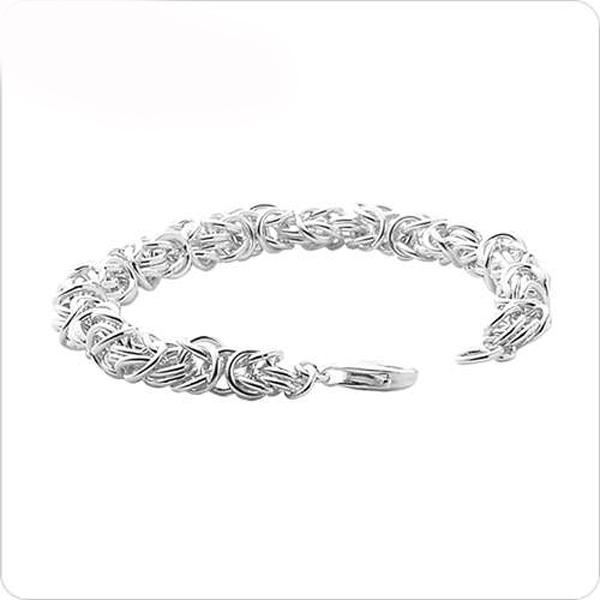 純銀單手鍊-6.5mm「喜悅」獨特編鍊純銀手鍊|999純銀手工鍊 拜占庭手鍊 (20公分內)(單條價) 拜占庭手鍊