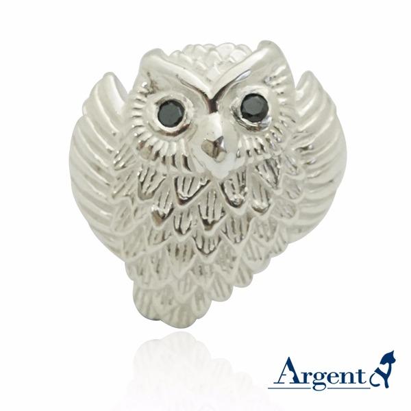 展翅貓頭鷹動物造型雕刻純銀戒指 戒指推薦 貓頭鷹