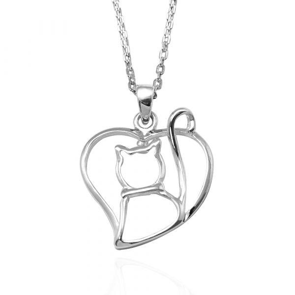 線條貓系列-藏愛-純銀項鍊銀飾|銀項鍊推薦 貓咪項鍊