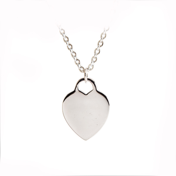 """Heart Tag"" simple plain silver necklace 