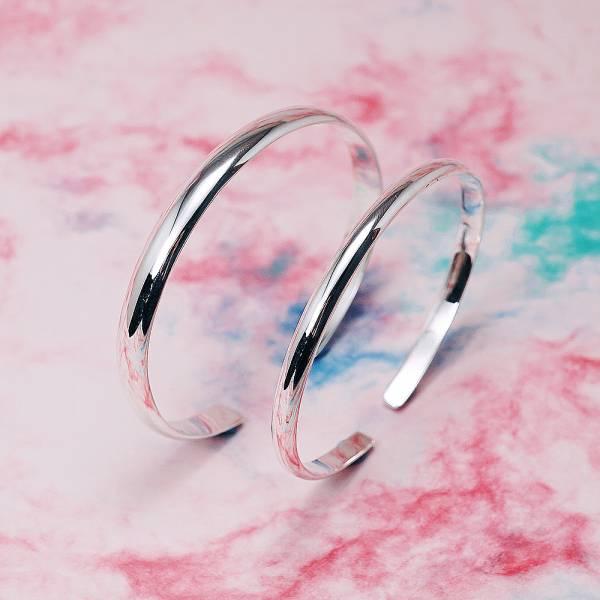 4mm+6mm「素雅(無刻字)」純銀手環|純銀手鐲(一對價) 純銀手環