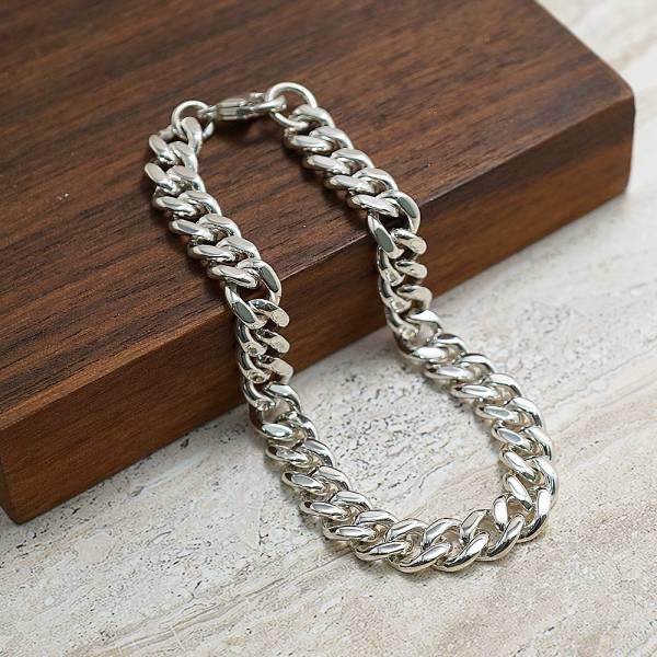 純銀單手鍊-「扁鍊(7.5mm)(問號叩頭)」復古馬鞭鍊-經典系列純銀手鍊|925銀飾 古巴鏈