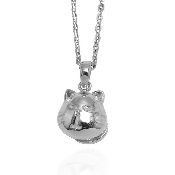 Q版貓-黑貓(小黑)-半立體(染黑/無染黑)造型動物純銀項鍊銀飾|安爵貓系列 貓咪項鍊