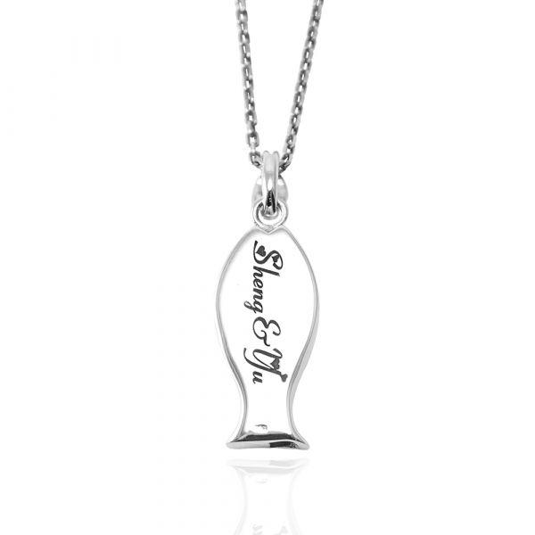 哨子魚(含單面刻字)可愛造型純銀項鍊銀飾|銀項鍊推薦 銀項鍊推薦