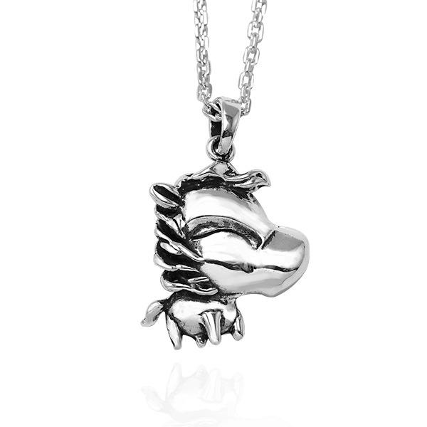12生肖-馬-造型雕刻純銀項鍊|正面立體後面平面可加購刻字 12生肖銀項鍊推薦