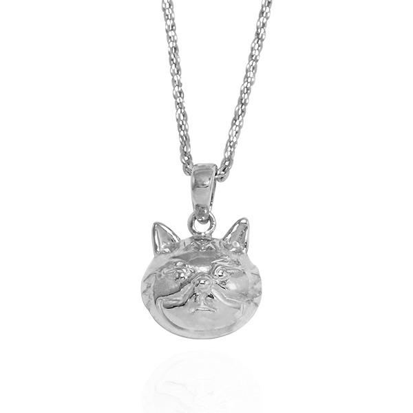 Q版貓-虎斑貓(咪咪)-半立體(染黑/無染黑)造型動物純銀項鍊銀飾|安爵貓系列 貓咪項鍊
