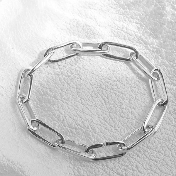 純銀單手鍊-8mm交叉扣方格鍊(20公分)-純銀手鍊|925銀飾(單條價) 造型手鍊
