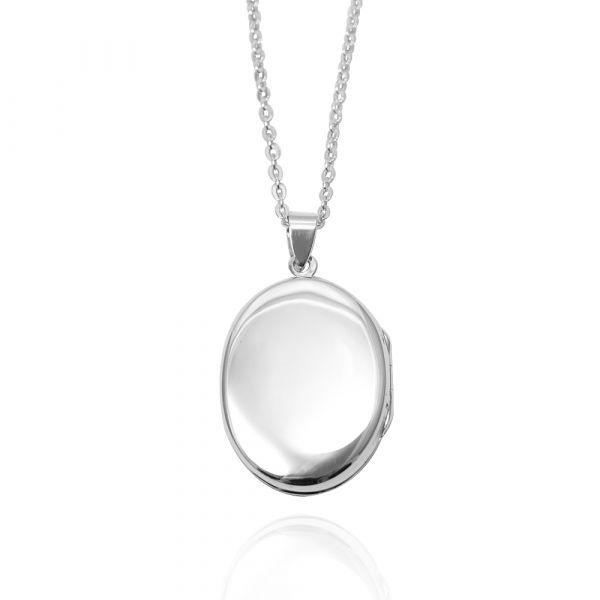 鵝卵石(中.平)蛋型橢圓鏡面純銀項鍊銀飾(可代印放照片.可加購刻字)潘朵拉放照片系列 照片項鍊