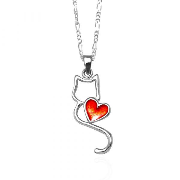 線條貓系列-戀愛(滴膠上色)(紅心)-純銀項鍊銀飾|銀項鍊推薦 貓咪項鍊