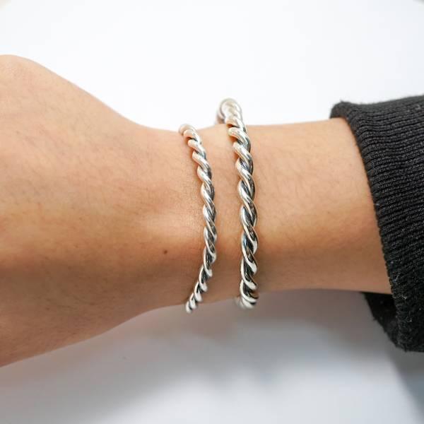 「扭紋(粗/細)」純銀手環-手工製作手環|925銀飾(單只價)