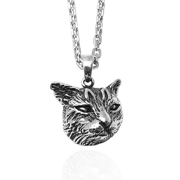 寫實貓-虎斑貓(小虎)-半立體(染黑/無染黑)造型動物純銀項鍊銀飾|安爵貓系列 貓項鍊
