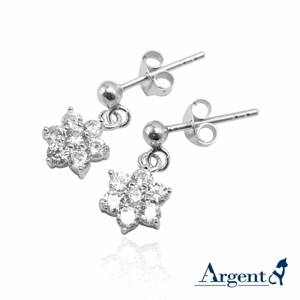 雪晶花漾造型耳針/耳勾純銀耳環推薦|925銀飾 純銀耳環推薦