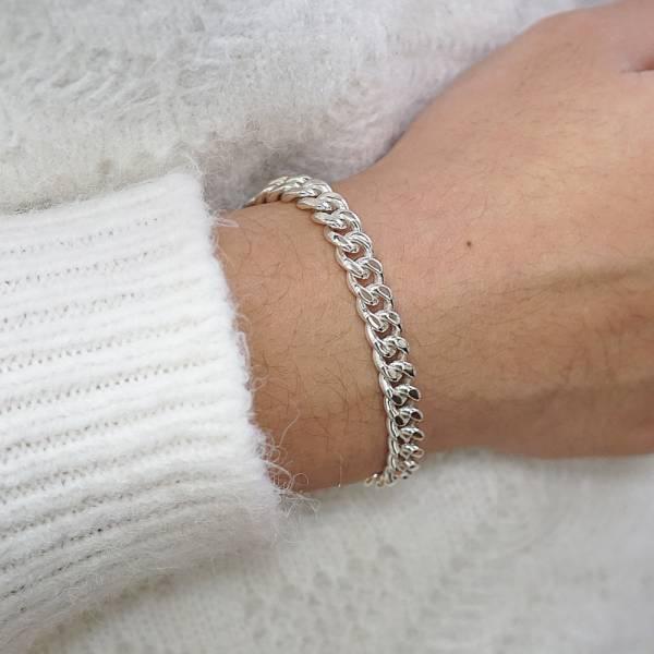 純銀單手鍊-「扁鍊(6.5mm)(問號叩頭)」復古馬鞭鍊-經典系列純銀手鍊|925銀飾 古巴鍊