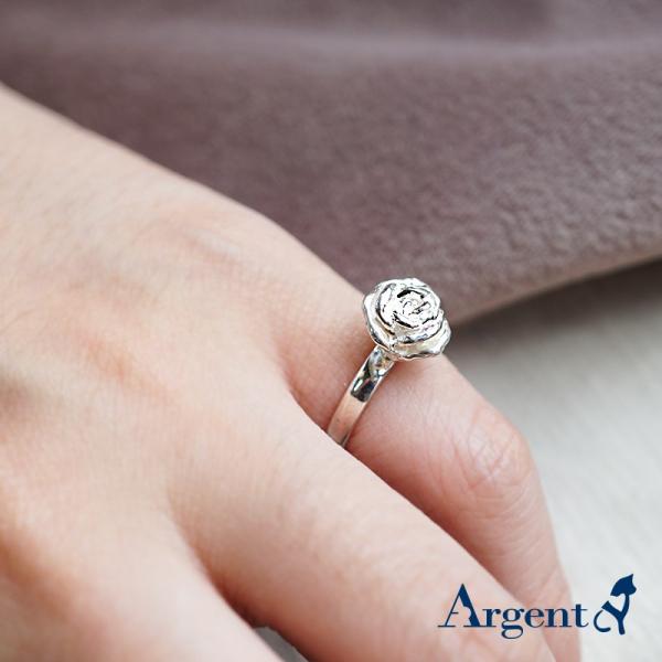 「玫瑰」立體手工雕花系列純銀戒指|花系列推薦 平面/烙印戒身 染黑/無染黑 玫瑰花戒指
