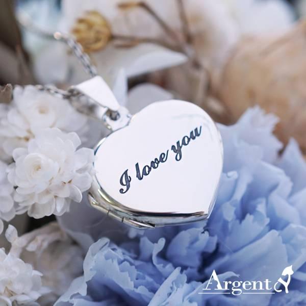 常見訂做-愛心平鏡面(含單面刻字)純銀項鍊銀飾|客製化項鍊(可代印放入照片)可加購刻字 相片框項鍊