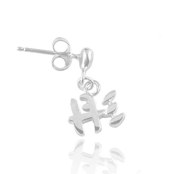 中文耳針款單字垂吊純銀耳環對飾|客製化耳環(單邊單只價/耳針) 客製化耳環