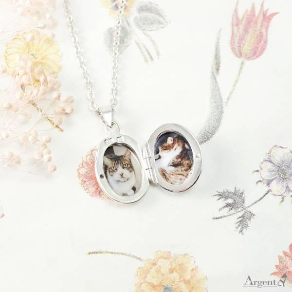 常見訂做-鵝卵石(迷你.平)(含代印護貝照片2張)蛋型橢圓鏡面純銀項鍊銀飾(可代印放照片.可加購刻字)潘朵拉放照片系列 照片項鍊