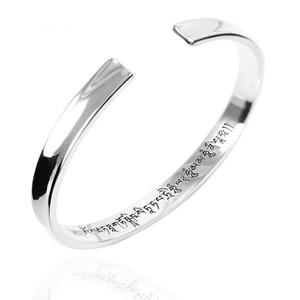 常見訂做-(梵文或手簽名)刻字手環|客製化訂做-8mm弧型刻字純銀弧形手環-內圍刻字(含刻字) 手環刻字