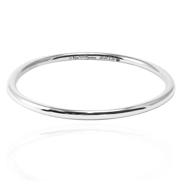 4mm「圓弧形+刻字」無開口手工製作純銀手環|999銀飾(含單面刻字) 999純銀手環