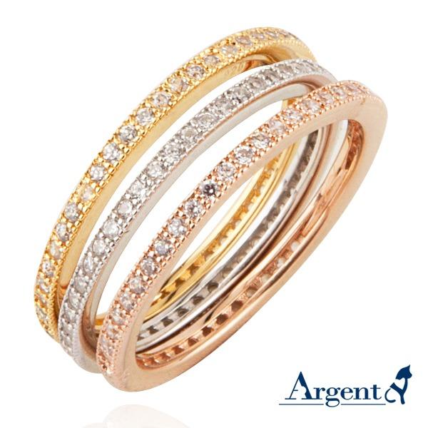「環鑽」電鍍細微鑲嵌純銀戒指 戒指推薦(電鍍3色選1) 戒指推薦