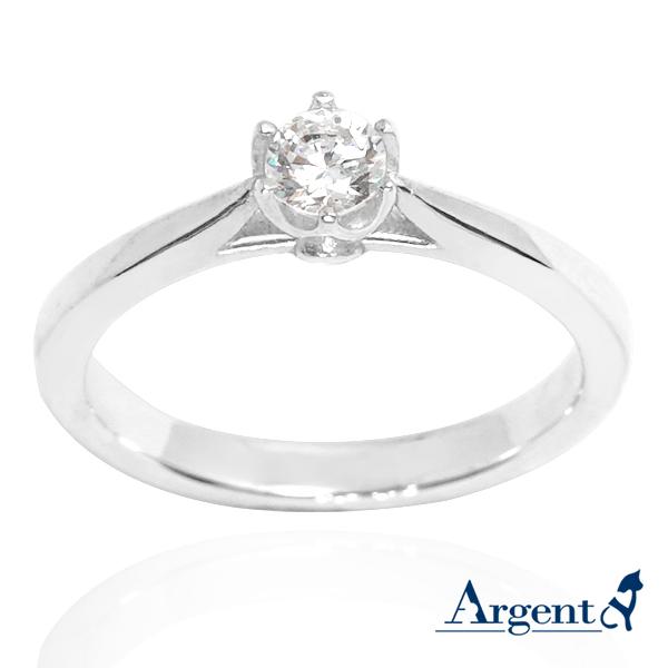 「花蕾(白鑽)」造型彩鑽鑲嵌純銀戒指|戒指推薦 鑽約20分大小 戒指推薦