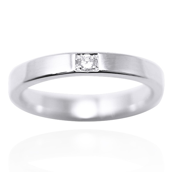 「永恆(細)」14K白k金真鑽-14K戒指推薦|k金戒指-鑲鑽簡約設計 婚戒推薦