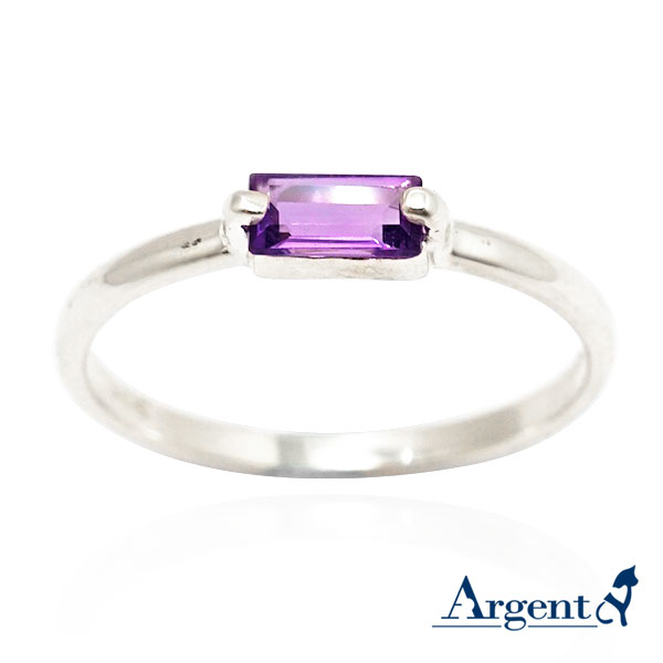 橫式長方彩鑽(天然紫水晶)鑲崁純銀戒指|戒指推薦