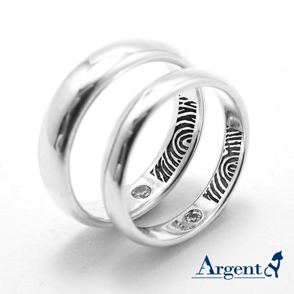 藏愛永恆指紋(藏鑽內圍刻指紋)純銀對戒|客製化訂做對戒深刻指紋(一對價)此為單獨指紋.要再刻字請加購 指紋戒指