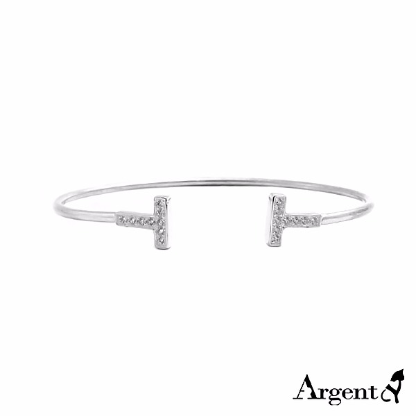 晶钻双T造型闪亮纯银手环|925银饰 纯银手环|925银饰
