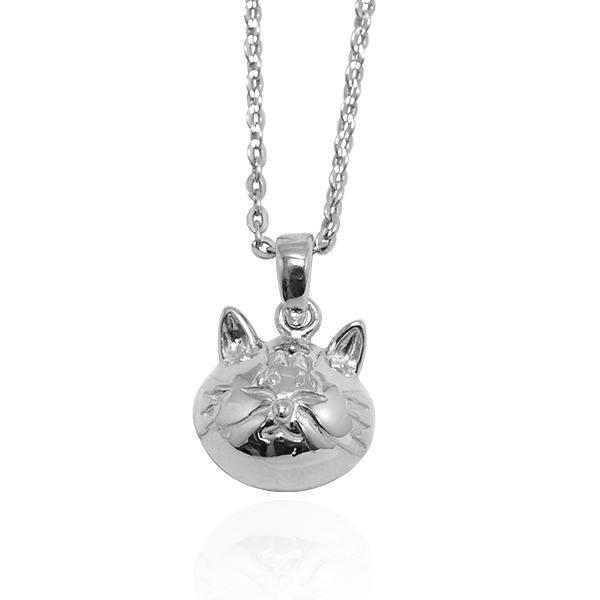 Q版貓-虎斑貓(貓仔)-半立體(染黑/無染黑)造型動物純銀項鍊銀飾|安爵貓系列 貓咪項鍊
