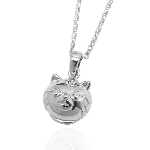 Q版貓-虎斑貓(金金)-半立體(染黑/無染黑)造型動物純銀項鍊銀飾|安爵貓系列 貓咪項鍊