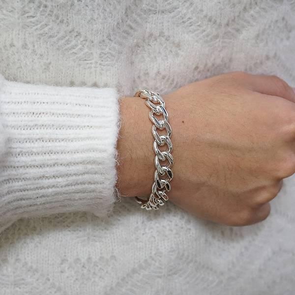 純銀單手鍊-「扁鍊(10mm)(問號叩頭)」復古馬鞭鍊-經典系列純銀手鍊|925銀飾 古巴鏈