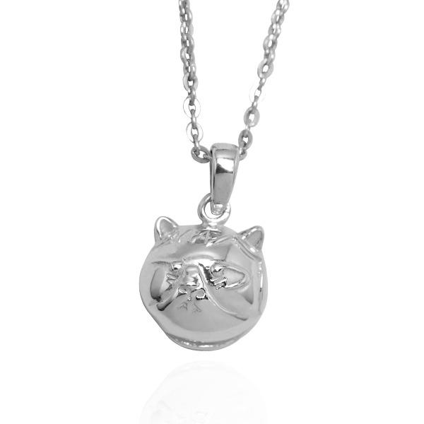 Q版貓-虎斑貓(小花)-半立體(染黑/無染黑)造型動物純銀項鍊銀飾|安爵貓系列 貓咪項鍊