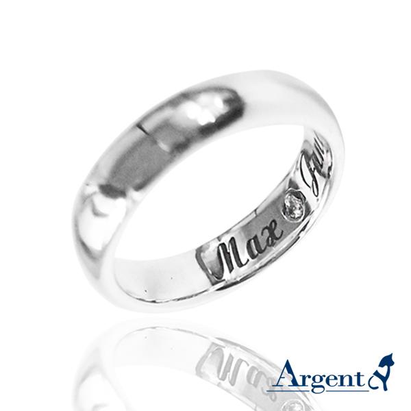 4mm內圍刻字藏鑽純銀戒指|訂做戒指客製化訂製 訂做戒指