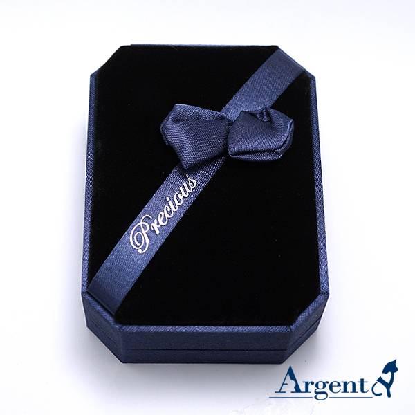 八角緞帶耳墜盒(大)(藍/紅)(黑底)(項墜/項鍊/耳環適用)緞帶手環送禮盒-飾品收納盒|收納墜盒 飾品收納盒