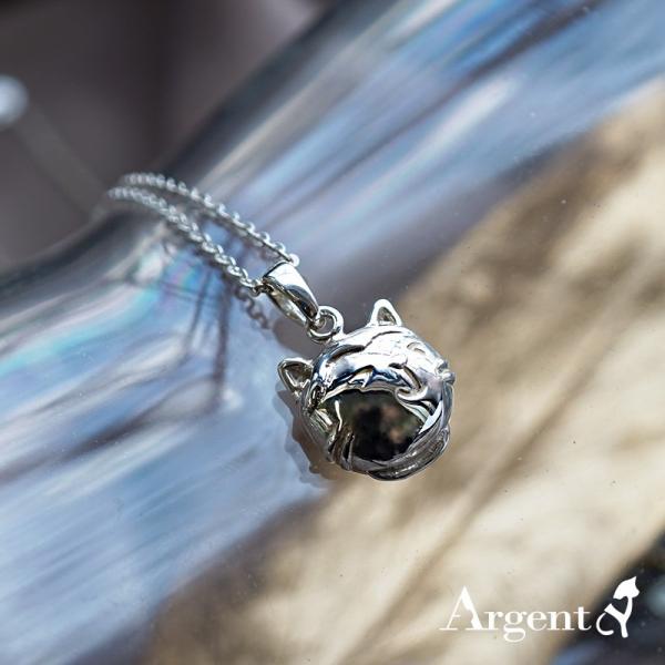 Q版貓-乳牛貓(點點)-半立體(染黑/無染黑)造型動物純銀項鍊銀飾|安爵貓系列 貓咪項鍊