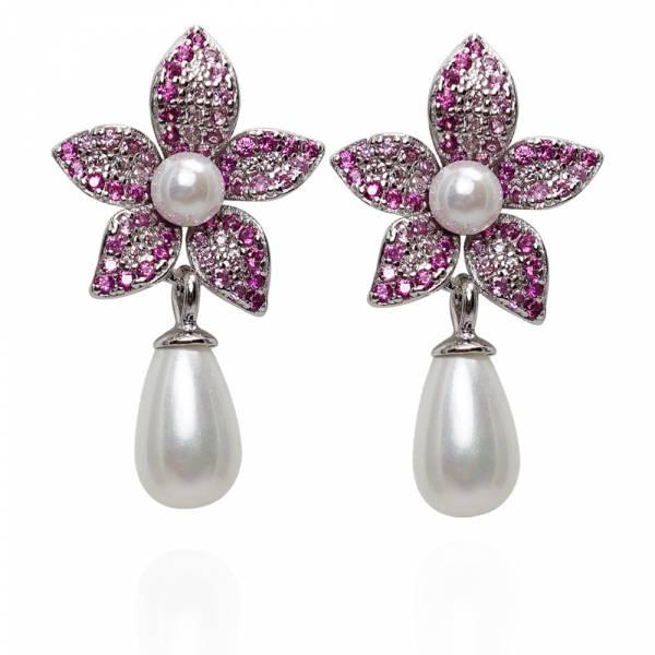 垂吊珍珠花瓣(粉/綠/藍/紫/橘色)鑲鑽搭配天然珍珠-造型純銀耳環推薦|925銀飾 珍珠耳環