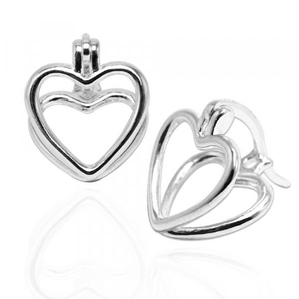 線條愛心-造型純銀耳環推薦|925銀飾 愛心耳環