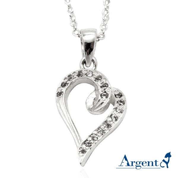 晶鑽心動(4色可選)愛心造型鑲鑽純銀項鍊銀飾|銀項鍊推薦 銀項鍊推薦
