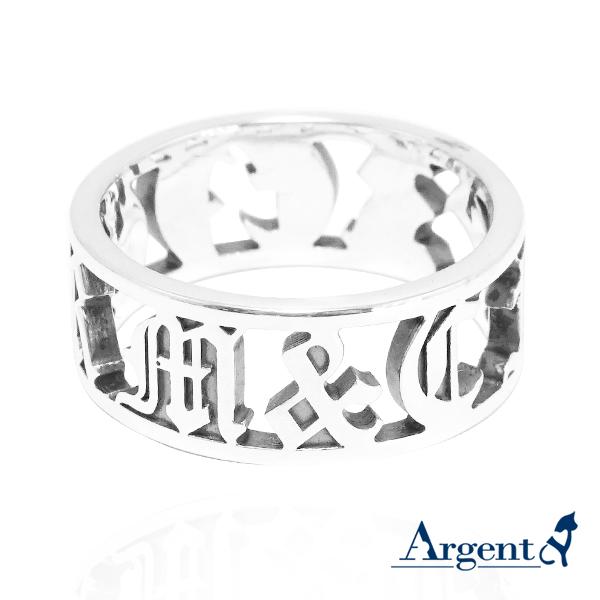 8mm古文密碼純銀戒指|客製化戒指 客製化戒指