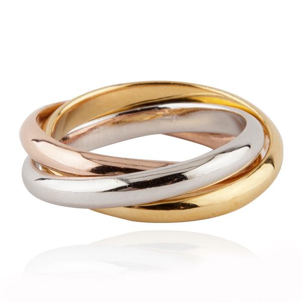 三环三色戒简约设计造型纯银戒指|戒指推荐 三環戒