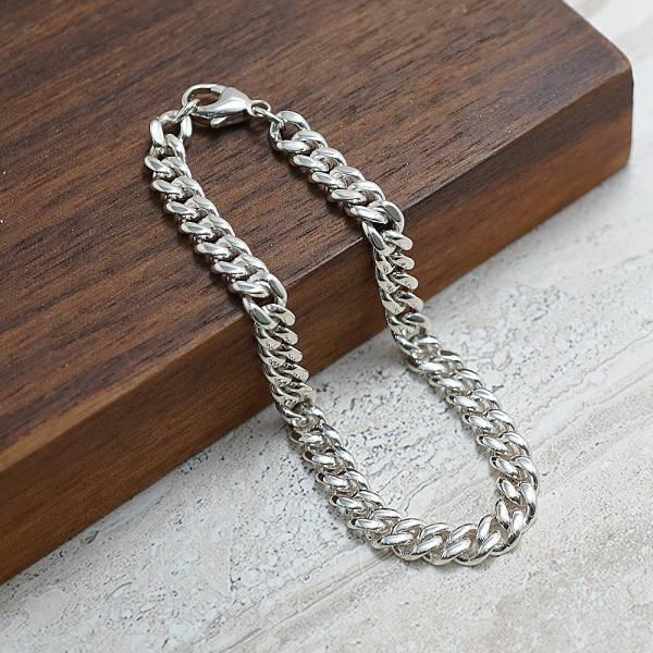 純銀單手鍊-「扁鍊(5mm)(問號叩頭)」復古馬鞭鍊-經典系列純銀手鍊|925銀飾 古巴鍊