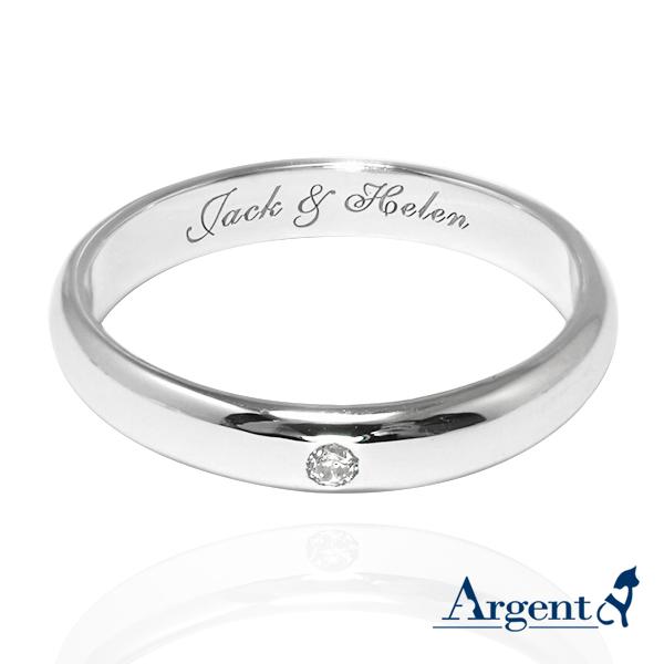 刻字客製戒指「經典(3mm/4mm)(電鍍版)」鑲鑽素面純銀戒指(電鍍款)|客製化戒指推薦 戒指推薦