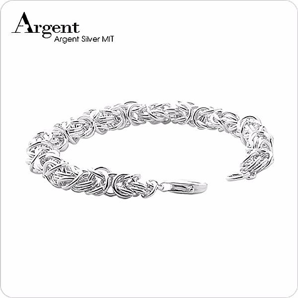 純銀單手鍊-6.5mm「喜悅」獨特編鍊純銀手鍊|999純銀手工鍊 999純銀手工鍊