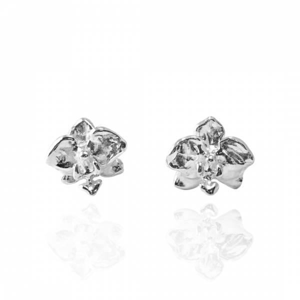 蘭花耳針純銀耳環推薦|925銀飾 純銀耳環