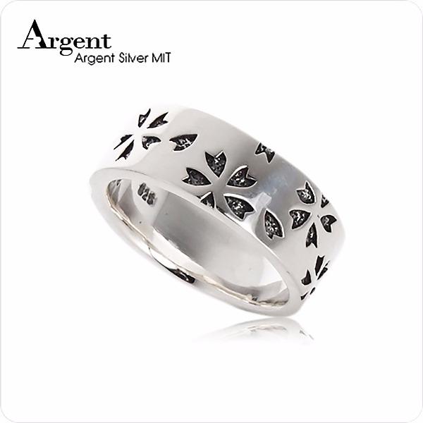 繽紛櫻花造型雕刻純銀戒指|戒指推薦 戒指推薦