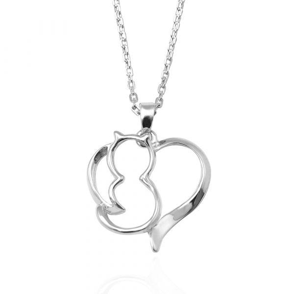 線條貓系列-環愛-純銀項鍊銀飾|銀項鍊推薦 貓咪項鍊